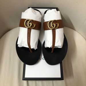 Gucci Brown GG Thong T-strap Sandals Sandal